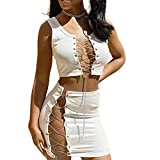 Sedrinuo Women 2 Piece Outfits Dress Sexy Cross Lace Up Crop Tank Top and Skirts Club Outfits
