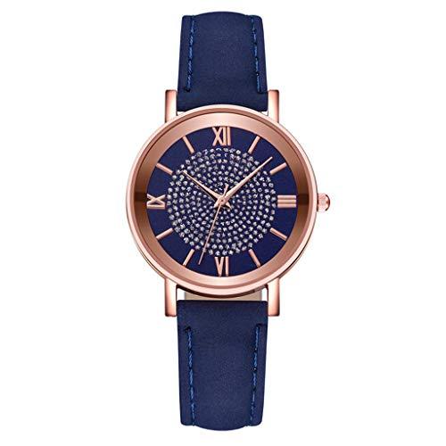 Hffan Damenuhr,Damen Analog Quarz Armbanduhr mit Leder-Armband, Damen Mode Uhren Diamond Luxusquarz Frauen Armbanduhr,Damen Lässige Mode wasserdichte Quarz Uhren (A-Blau, One size)