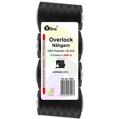 4pieza Bobinas Overlock–Hilo, Negro, A. 5000M, Ne 40/2, 100% poliéster, hilo, máquinas de coser hilo, 3057