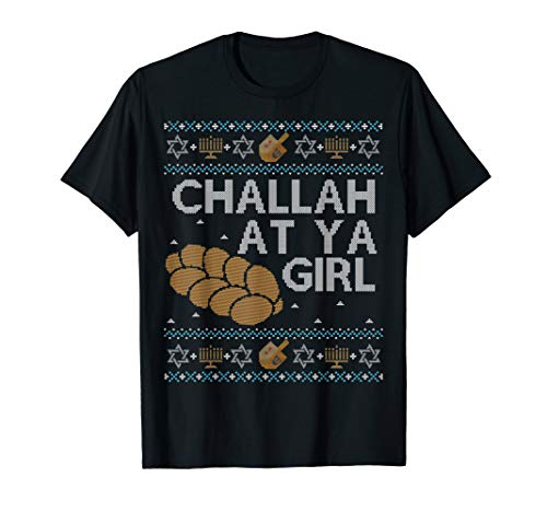 Funny Ugly Hanukkah Sweater Shirt Challah At Ya Girl Set Tee
