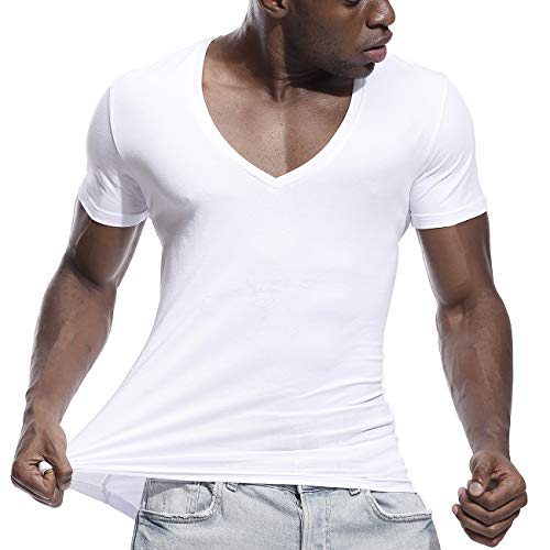 Make Skin Make Bone Mens Deep V Neck T Shirts Slim Fit Basic Tee Shirt Short Sleeve Sexy White XL