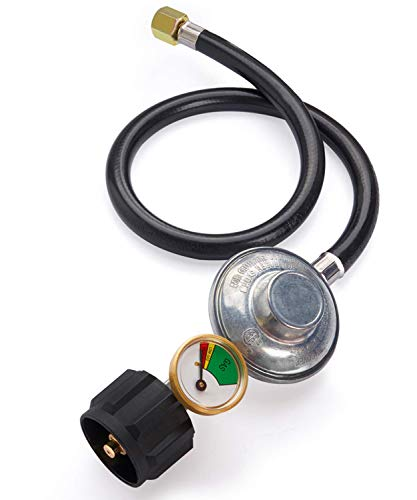 SHINESTAR Gas Grill Regulator and Hose with Gauge, Compatible with Weber, Char-Broil, Nexgrill and Most Outdoor Propane Grills, 2-Foot
