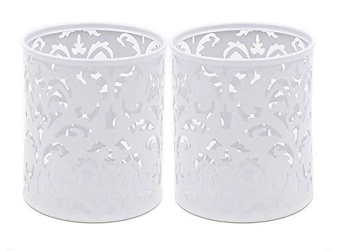 Esoar Lot de 2 pots à crayons ronds creux pour pinceaux de maquillage Motif floral Blanc blanc