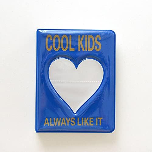 Álbum de 64 bolsillos de 3 pulgadas, álbum de fotos de bebé, bonito corazón, para Fujifilm Instax Mini LiPlay 11, 9, 8, 7S, 90 y 70, soporte de papel (color: azul)