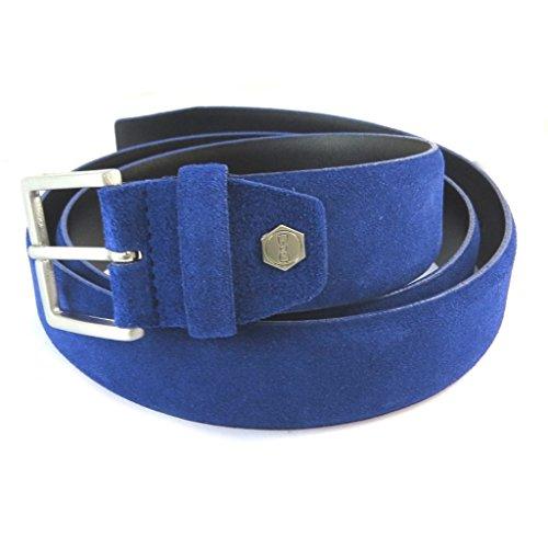Eden Park N9761 - Cintura in pelle blu reale - 35 mm.