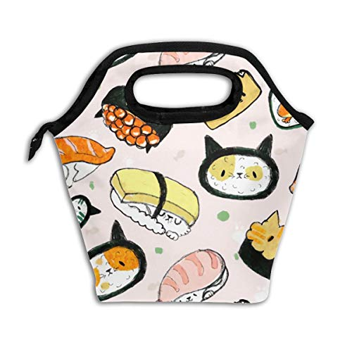 Lao Yang Mai Cat Head Best Cute Sushi Japanese White School Lunch Containers Bag Pail Pack Accessories Tote Ice Cooler Insulated Reusable Box Hot Food Bento Warmer Prep Set Kit Decorations