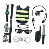 perfeclan Kostüm Polizei Weste mit Zubehör Party Spielzeug für Kinder
