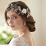 Azaleas HP72 - Cinta para el pelo para novia, para mujer, color negro
