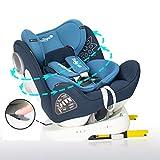 Daliya Sedion Kinderautositz 0-36KG 360° Blau, mitwachsender Autositz, Kindersitz GR. 0+1+2+3, Isofix Fix, Top Tether, 5 Punkt Sicherheitsgurt, incl. Sonnenverdeck, 2x Isofix Einbauhilfe…