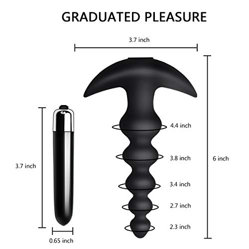 Vibrating Anal Beads Butt Plug - Flexible Silicone 16 Vibration Modes Graduated Design Anal Sex Toy Waterproof Bullet Vibrator for Men, Women and Couples