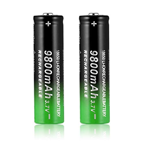 Ygerbkct 2 pcs 18650 Batería de Litio Recargable 3.7V 9800MAH, Batería de Litio de Iones de Litio Recargable, Adecuada para Linternas LED, Iluminación de Emergencia, Equipos Electrónicos, etc