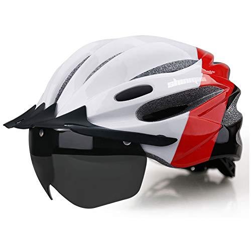 Shinmax Casco Bici con Luce di LED USB Ricaricabile,Certificato CE, Casco con Visiera e Magnetica Staccabile Shield Casco da Bici Super Leggero Casco integralmente Adulto da Bicicletta