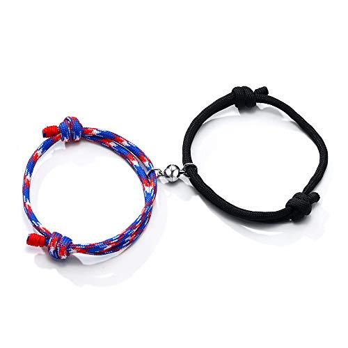 VNOX 2 pulseras de atracción mutua con nudo de cuerda para parejas, votos de amor eterno y corazón, colgantes con campanas magnéticas, juego de joyería para mujeres, hombres/padres/hijos