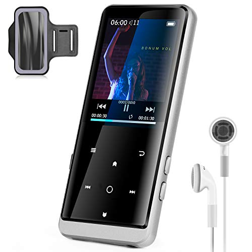 MP3 Player with Bluetooth 5.0, 32GB Music Player with FM Radio, Voice Recording, Photo Browsing, Video, E-Book, Expandable up to 128GB, for Walking Running(Earphones, Sport Armband Included)