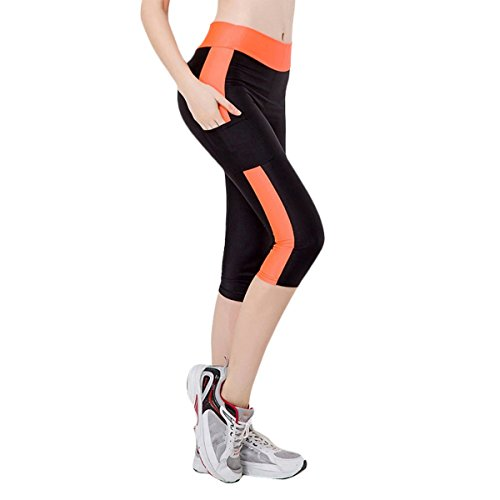 Fletion Femmes Filles Tight Stretch Flash Sport Yoga Courir Pantacourt Pantalon Legging Compression Leggings de Sport Femme 3/4
