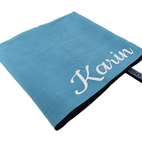 Mikrofaser-Handtuch mit Name oder Wunschtext, Sport-Handtuch mit Bestickung - ideal als Badehandtuch, Reisehandtuch & Strandtuch, kompakt, leicht & schnelltrocknend, 70 x 140 cm türkis