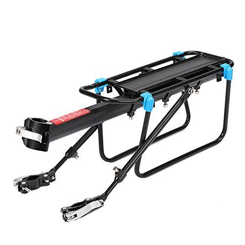 Portabicicletas traseras para bolsas de alforja, equipaje, carga, carga de 50 kg, aleación de aluminio ajustable asiento trasero de bicicleta de montaña con reflector