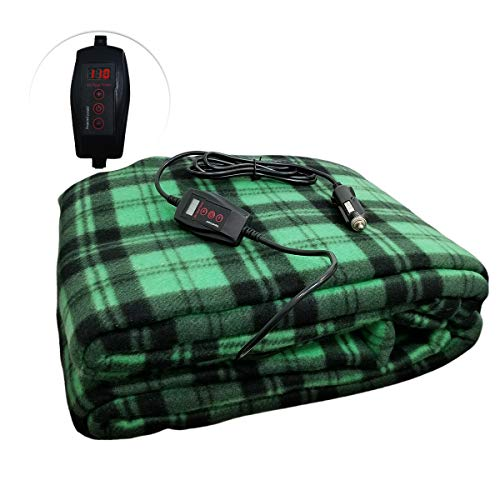 Zone Tech Car Travel Blanket – Green Plaid Premium Quality 12V Polar Fleece Material Automotive Comfortable Seat Blanket Great for Winter, Cold Days and Nights, Road Trips
