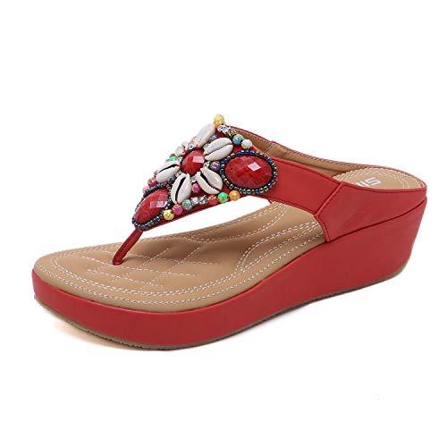 Damen Sommer Böhmische Sandalen Mit Keilabsatz Mit Flip-Flops Rot 41 EU