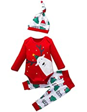 K-Youth Conjunto Bebe Niño Navidad Pajamas Navidad Niños Estampado de Reno Bodys Bebe Niña Ropa Bebé Niña Recien Nacido Mameluco Bebe Niñas Monos Bebés Invierno Pantalones Sombrero