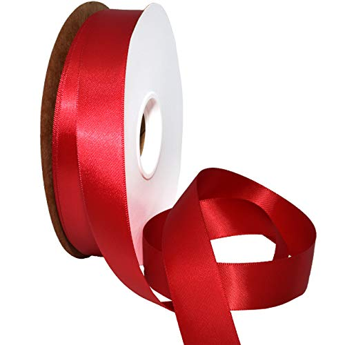 Morex Ribbon 08822/50-264 Double Face Satin Ribbon, 7/8'x 50 Yd, Ruby