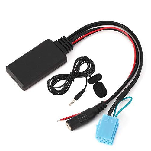 Duokon Adaptador de entrada auxiliar Bluetooth, adaptador de audio ABS de 8 pines con micrófono para llamadas manos libres apto para Smart Fortwo 450