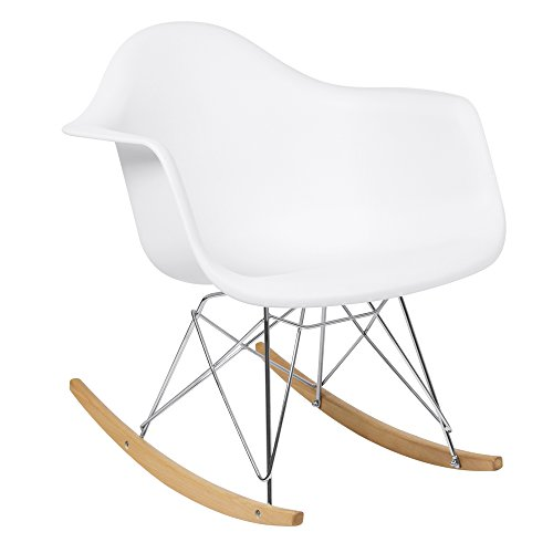 Best Choice Products Mid-Century Modern Contemporary Accent Rocking Lounge Arm Chair Furniture for Living Room, Bedroom w/Wood Legs - White