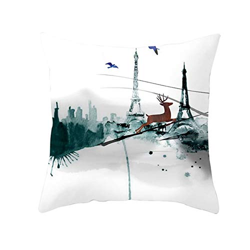 Malinmay Xmas Cushion Cases, Polyester Deer Eiffel Tower Throw Pillow Cover White Brown Grey Style 9 Size 45X45CM
