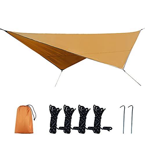 KUYH Tarpa De Camping Impermeable, Toldo Al Aire Libre Portátil, Forma De Diamante De Tela De Oxford con Recubrimiento De Plata 210D, Adecuado para Acampar Y Viajes Al Aire Libre (2.5 * 3.2M),Naranja