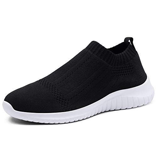 TIOSEBON Women's Walking Sock Shoes Lightweight Slip on Breathable Yoga Sneakers 8.5 US Black