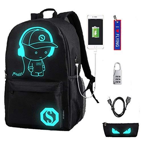 WYCY Anime Cartoon Luminous Backpack Mochila de Moda con Puerto de Carga USB y antirrobo Lock & Pencil Case, Mochila Escolar Unisex Bookbag con Bordado Llavero Colgante(Niño de música Negro)