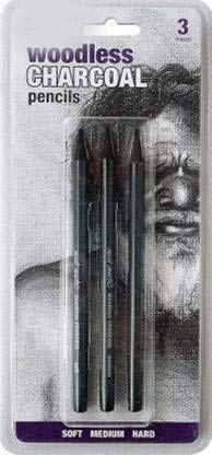 Paaroots Black Woodless Charcoal Pencils, 3 Piece. Features 3 Grades of Charcoal Including Soft, Medium and Hard.