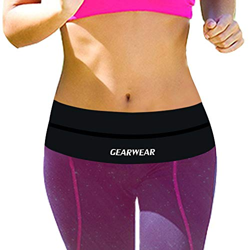 GEARWEAR Running Belt Waist Pack Bag for iPhone 8 X 7 Plus 6s Women and Men Runner Workout Belts Fanny Bag for Phone Samsung Galaxy Note s8 s7 s6 Plus for Wallking Fitness Jogging Black