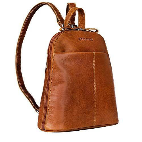 STILORD \'Olivia\' City Rucksack Damen Leder Daypack Kleiner Lederrucksack Rucksackhandtasche zum Ausgehen für 9,7 Zoll iPads und 10,1 Zoll Tablets echtes Leder, Farbe:Brandy - braun