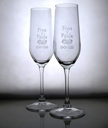 Copas de cava grabadas ANILLOS CORAZONES. Regalo de boda, aniversario, regalo original,...