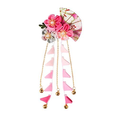 Minkissy Pinza de Pelo de Flor Japonesa de Estilo Japonés Pinza para El Cabello con Colgante de Campana de Ventilador Pasador de Pelo Floral Decorativo para Mujeres Niñas Vestido (Rosa)