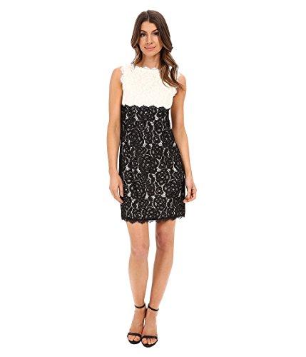 Adrianna Papell Women's Empire-Waist Soft Lace Dress, Ivory/Black, 14