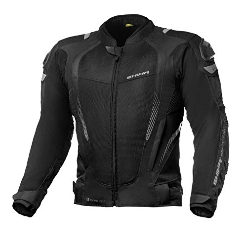 SHIMA MESH PRO Blouson Moto Homme - Veste Moto D'été en Maille, Protections CE Dos, Épaules et Coudes, réglage de la largeur (Noir, S)