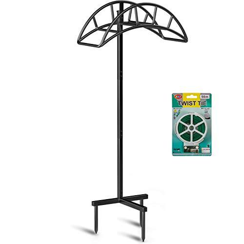 Hokyzam Garden Hose Holder Water Hose Organizer With Plant Twist Tie Detachable Metal Hose Hanger Heavy Duty Yard Hose Storage Decorative Free Standing Hose Rack For Garden Lawn Yard Black