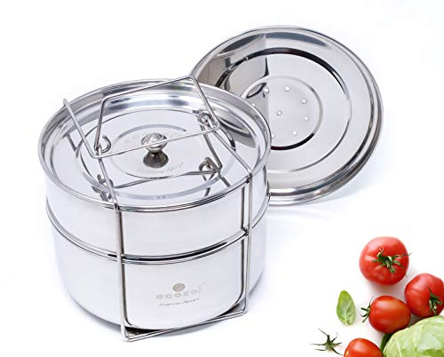Ecozoi Premium Extra Deep Stackable Steamer Insert Pans Pot In Pot For Instant Pot 6, 8 Quart Instant Pot Accessories - 2 Tier | Interchangeable Lids | Comes With 5 Additional Mini Cups For Baking