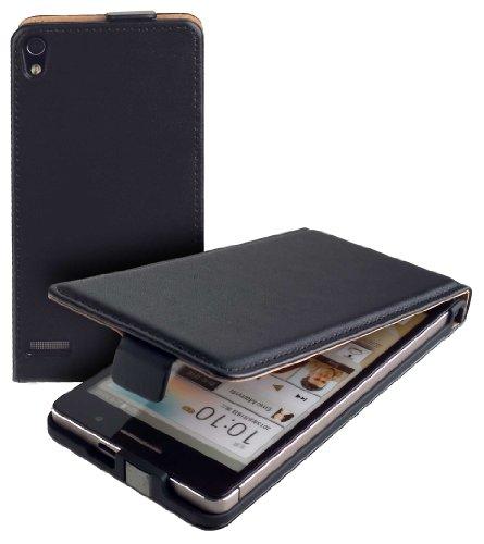 yayago Flip Tasche für Huawei Ascend P6 Hülle Flip Hülle Schwarz