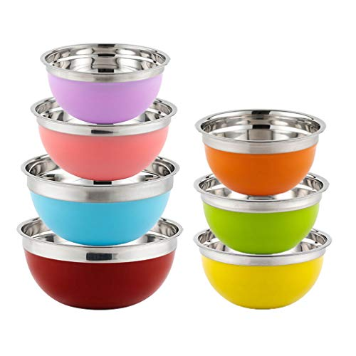 HAOXIANG 7-Piece Stainless Steel Mixing Bowl, Colorful Kitchen Nesting Salad Bowls for Baking, Preparing, Cooking and Holding Food – Save Space & Dishwasher Safe