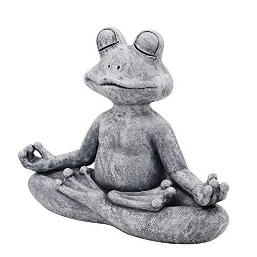 Garden Frog Figurine Résine Zen Yoga Grenouille Jardin Statue Décoration de Jardin Décoration d'extérieur Décor Décor Ornements d'intérieur (Color : Grey)