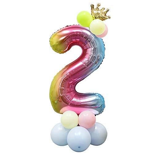 Foil Globo Número Arcoiris 24 Piezas, Gigante Numeros 40 Pulgadas Grande Globos para Cumpleaños, La Boda Aniversario, Fiesta y Hogar Decoración, Adultos y Niños (Número 2)