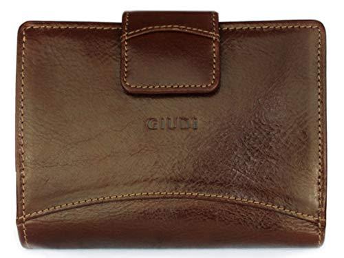 Giudi ® Geldbörse Damen Leder Rot Mittel-Groß Vintage Echtleder Mit Vielen Fächern Münzfach Überschlag Portemonnaie Designer Luxus Trend (Braun)