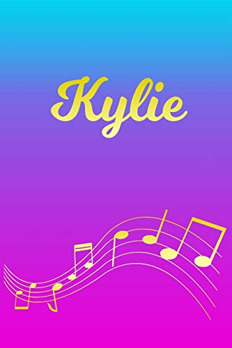 Kylie: Sheet Music Note Manuscript Notebook Paper – Pink Blue Gold Personalized Letter K Initial Custom First Name Cover – Musician Composer … Notepad Notation Guide – Compose Write Songs