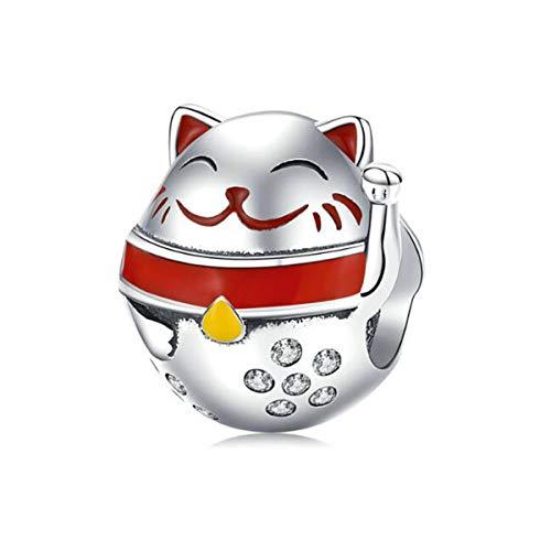 Abalorio para abalorios Pandora, esmalte de plata, regalo de Navidad para ella, diseño de búho, regalo para mujeres y madres (gato rojo)