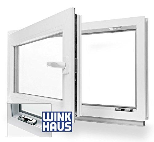 Fenster WOHNRAUM Kunststoff Kunststofffenster Doppelverglasung Dreh Kipp LAGERWARE 80x40cm / 800x400mm DIN Links (Griff Rechts)