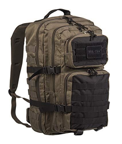 YDS Ranger - Mochila de estilo militar, 20 L y 36 L, gran volumen, mochila multifunción para escuela, trekking senderismo, camping, viajes, pesca, escalada, alpinismo o uso, color Noir-Kaki