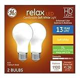 GE Relax 75-Watt EQ A19 Soft White Dimmable LED Light Bulb (2-Pack)